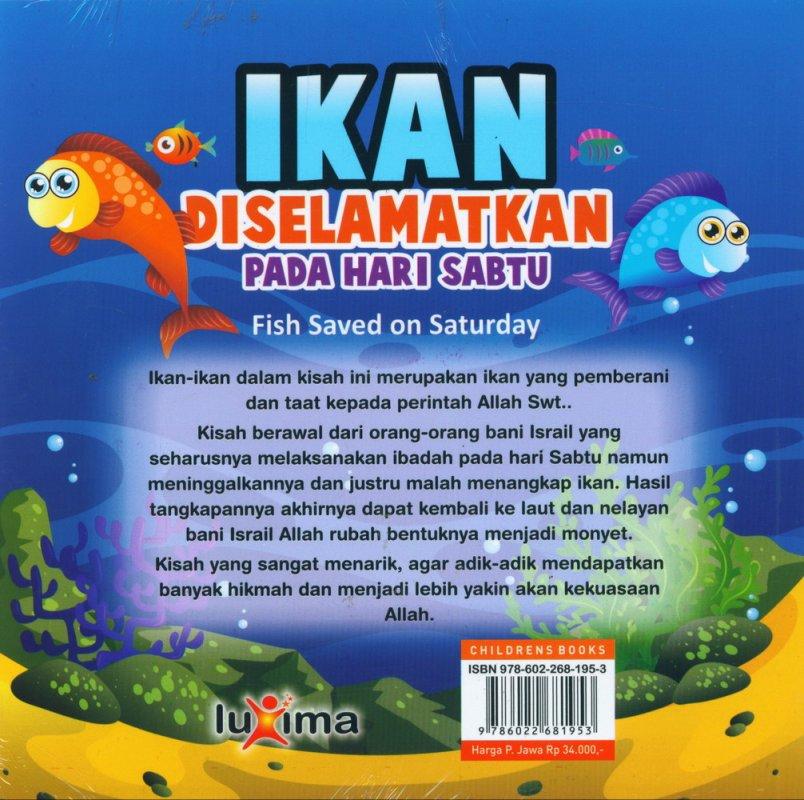 Cover Belakang Buku Ikan Diselamatkan Pada Hari Sabtu - Fish Saved on Saturday (Bilingual)