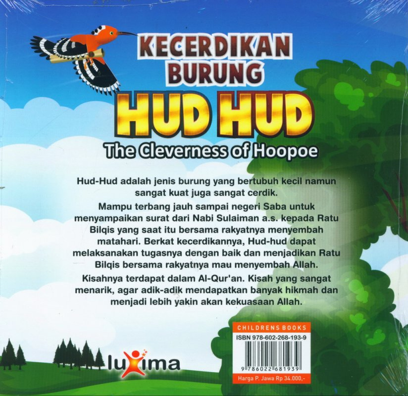 Cover Belakang Buku Kecerdikan Burung Hud Hud - The Cleverness of Hoopoe (Bilingual)
