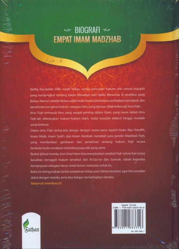 Cover Belakang Buku Biografi Empat Imam Madzhab (Hard Cover)