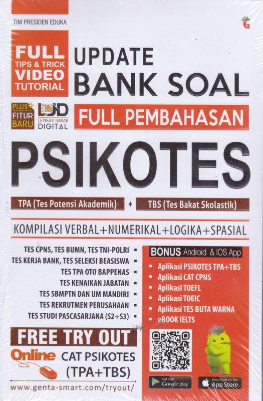 Cover UPDATE BANK SOAL FULL PEMBAHASAN PSIKOTES TPA+TBS