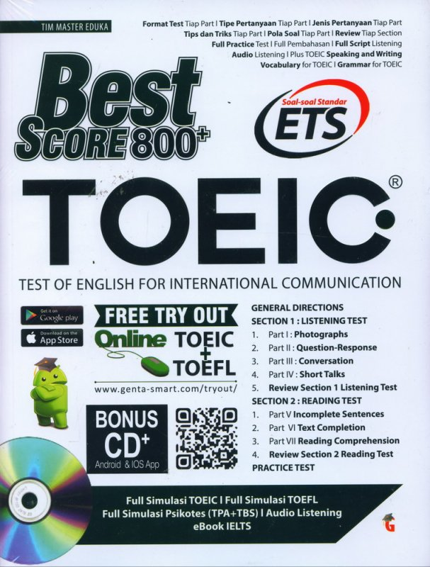 Cover Buku BEST SCORE TOEIC 800+