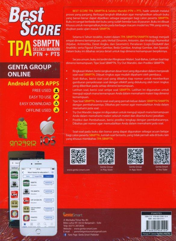 Cover Belakang Buku BEST SCORE TPA SBMPTN SELEKSI MANDIRI PTN+PTS