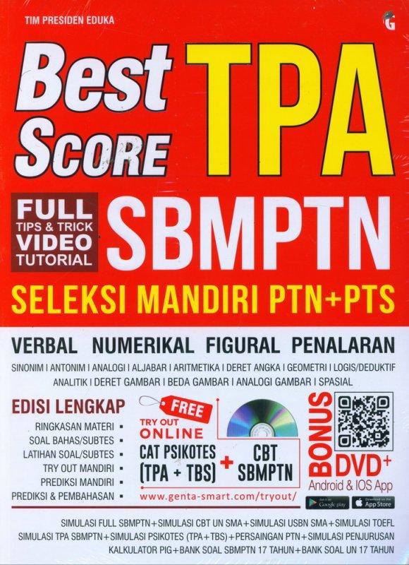 Cover Buku BEST SCORE TPA SBMPTN SELEKSI MANDIRI PTN+PTS