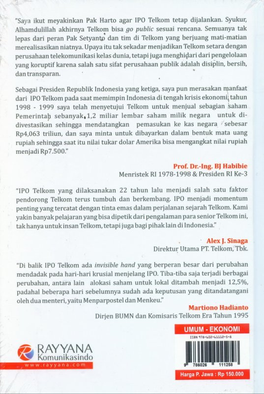Cover Belakang Buku Untold Story IPO TELKOM di NYSE & BEJ (Hard Cover)