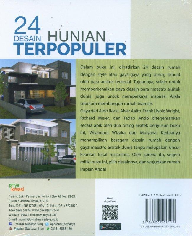 Cover Belakang Buku 24 Desain Hunian Terpopuler Terinspirasi dari Karya 5 Maestro Dunia