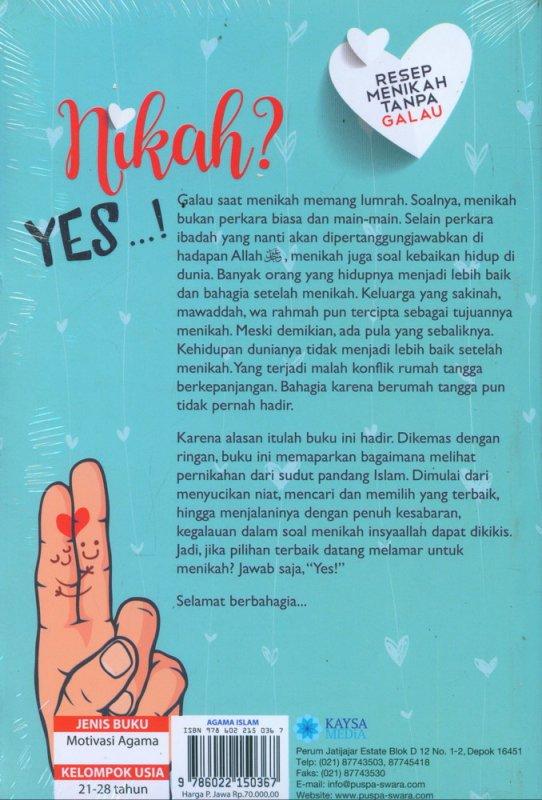 Cover Belakang Buku Nikah? Yes! - Resep Menikah Tanpa Galau