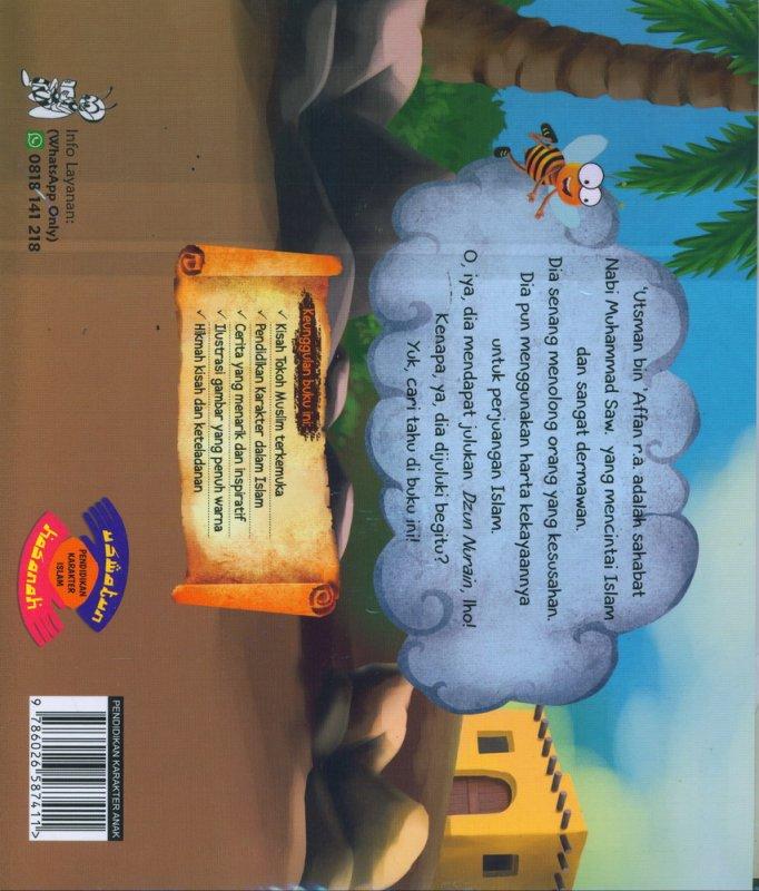 Cover Belakang Buku Seri Tokoh Muslim Terkemuka: Utsman bin Affan - Saudagar yang Mencintai Islam dan Sangat Dermawan