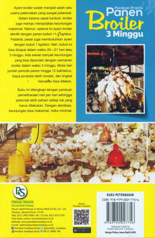 Cover Belakang Buku Panduan Praktis Panen Broiler 3 Minggu [12 kali panen dalam setahun]