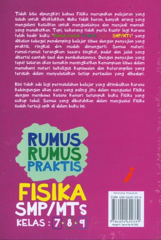 Cover Belakang Buku Rumus-Rumus Praktis Fisika SMP/MTs KELAS 7-8-9