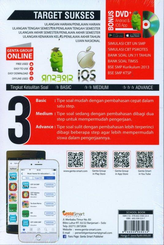 Cover Belakang Buku Top Sukses Update Bank Soal Full Pembahasan MATEMATIKA SMP 7-8-9