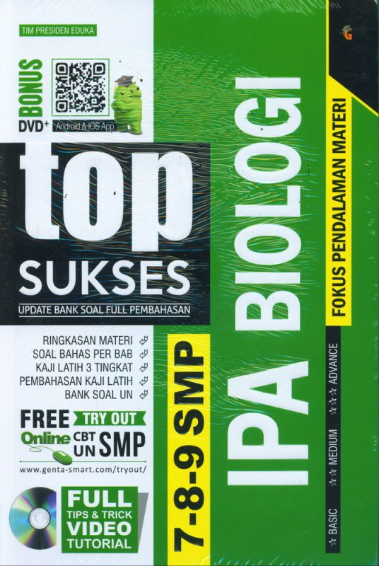 Cover Buku Top Sukses Update Bank Soal Full Pembahasan IPA BIOLOGI SMP 7-8-9
