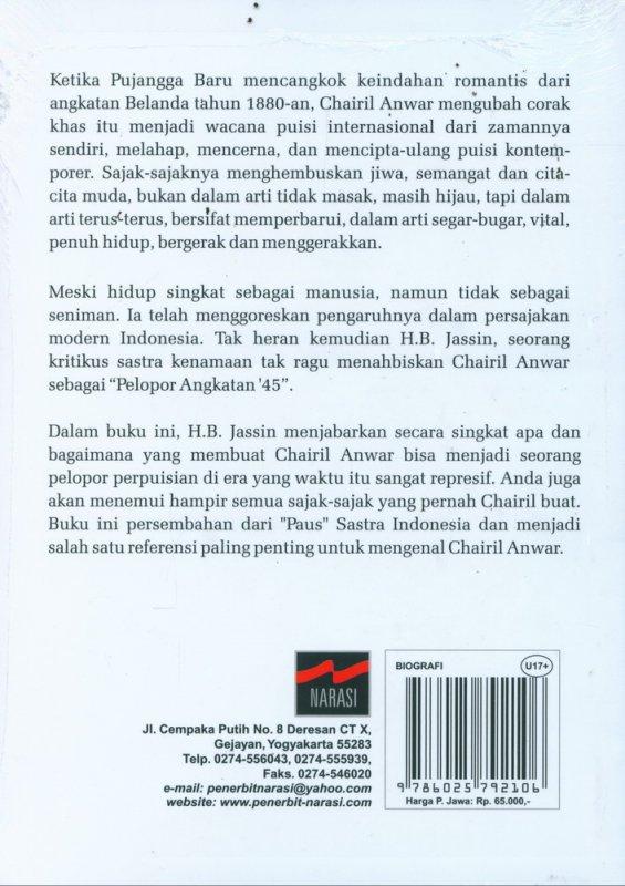 Cover Belakang Buku Chairil Anwar Pelopor Angkatan 45