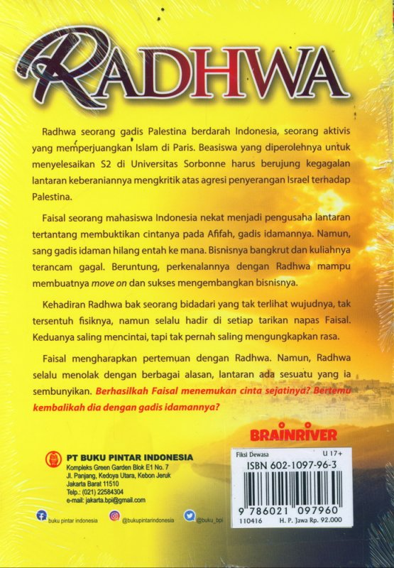 Cover Belakang Buku RADHWA : Kisah Cinta Segitiga Gadis Palestina Berdarah Indonesia