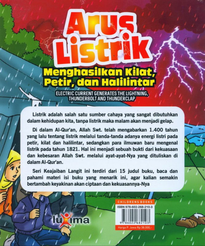 Cover Belakang Buku Seri Keajaiban Langit: Arus Listrik Menghasilkan Kilat, Petir, dan Halilintar (Bilingual)