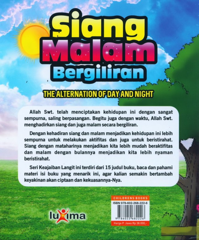 Cover Belakang Buku Seri Keajaiaban Langit: Siang Malam Bergiliran (Bilingual)