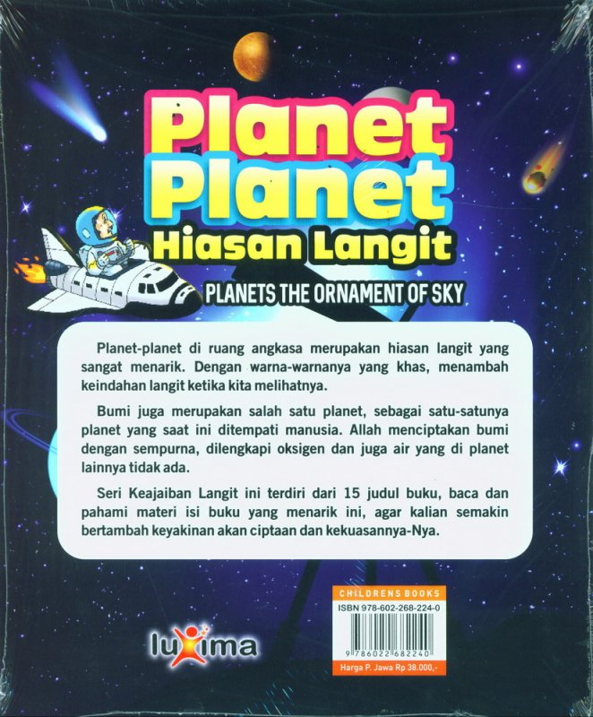 Cover Belakang Buku Seri Keajaiaban Langit: Planet-Planet Hiasan Langit (Bilingual)