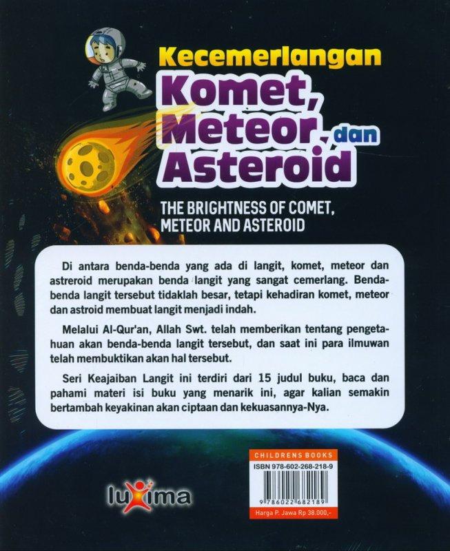 Cover Belakang Buku Seri Keajaiban Langit: Kecemerlangan Komet, Meteor, dan Asteroid (Bilingual)