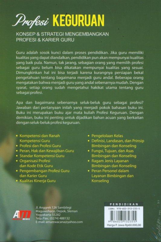 Cover Belakang Buku Profesi Keguruan: Konsep & Strategi Mengembangkan Profesi & Karier Guru