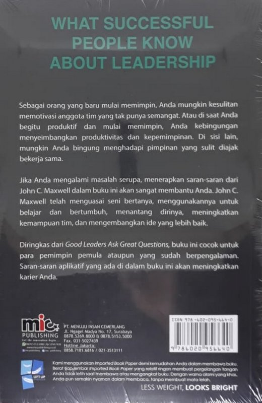 Cover Belakang Buku What Successful People Know About Leardership