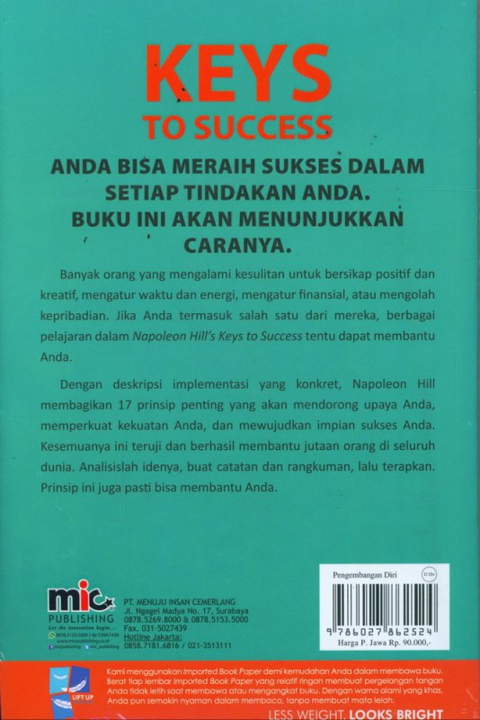 Cover Belakang Buku Napoleon hills Keys To Success