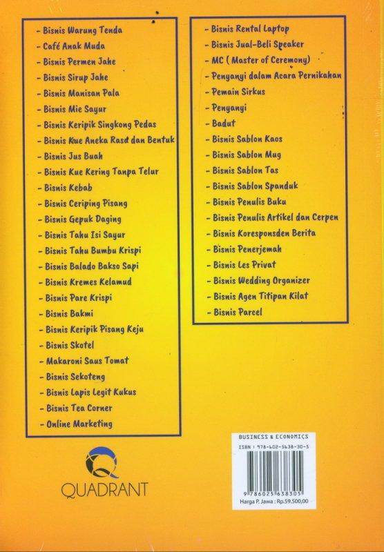 Cover Belakang Buku Bisnis Modal 500 Ribuan