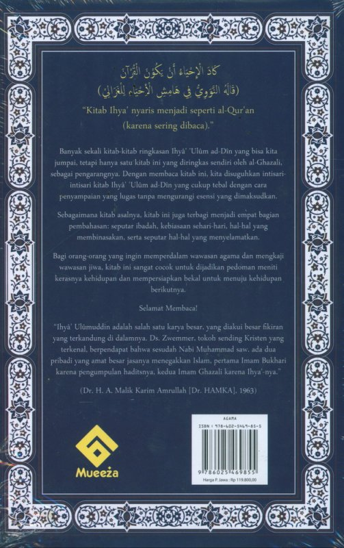 Cover Belakang Buku Ihya Ulumuddin untuk Orang Modern
