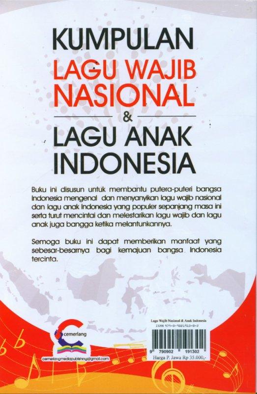 Cover Belakang Buku Kumpulan Lagu Wajib Nasional & Lagu Anak Indonesia