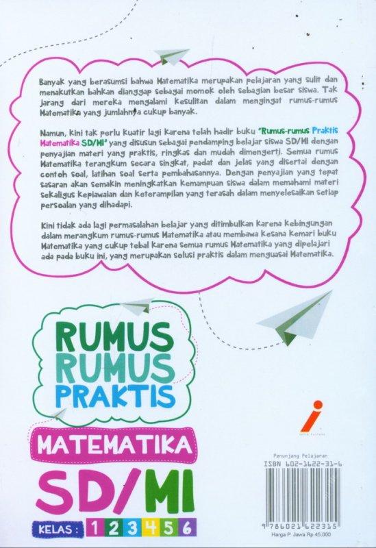 Cover Belakang Buku Rumus-Rumus Praktis MATEMATIKA SD/MI Kelas 1-6