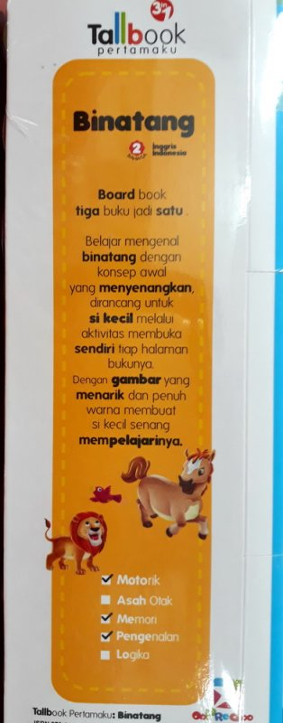 Cover Belakang Buku Tall book pertamaku : Binatang