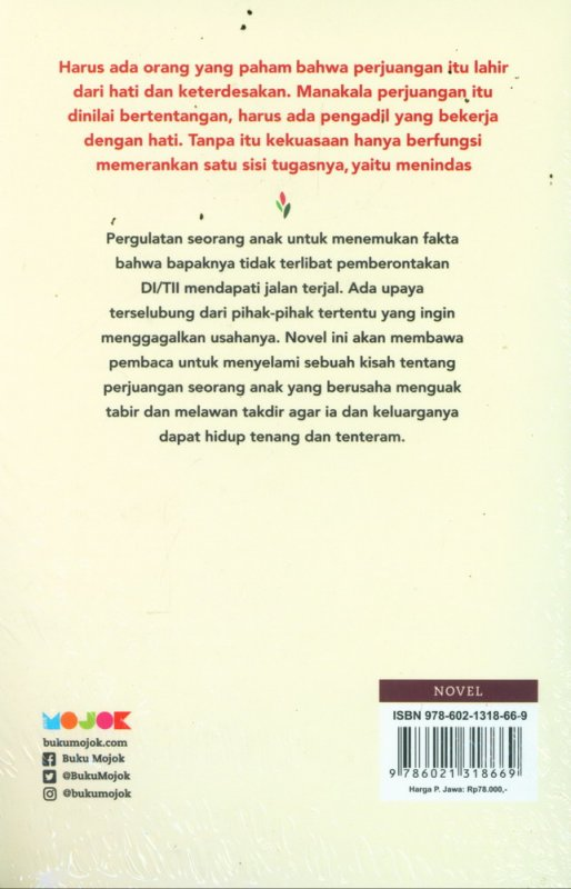 Cover Belakang Buku Serat Cantigi Sebuah Novel