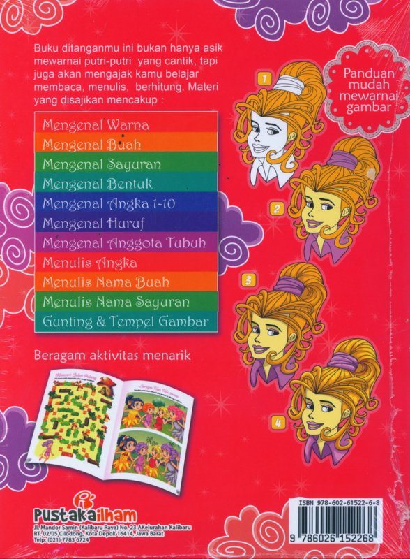Cover Belakang Buku Mewarnai Putri Cantik Sambil Belajar