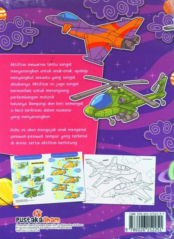 Cover Belakang Buku Mengenal & Mewarnai Alat Tempur di Udara Sambil Berhitung