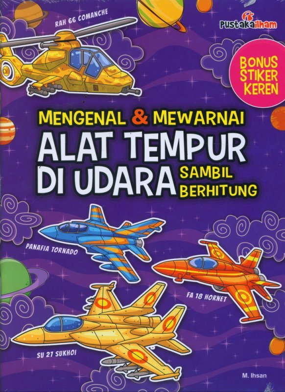 Cover Buku Mengenal & Mewarnai Alat Tempur di Udara Sambil Berhitung