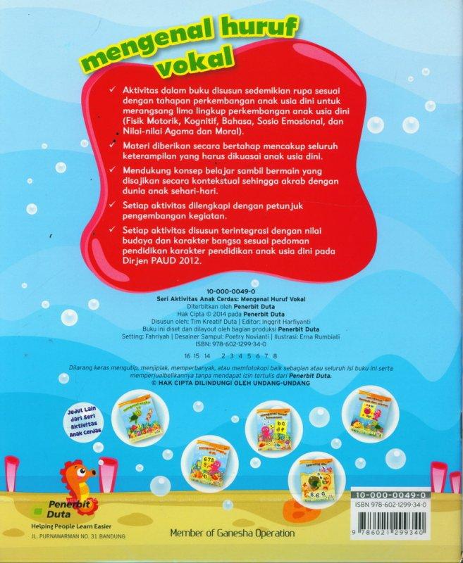 Cover Belakang Buku Seri Aktivitas Anak Cerdas: Mengenal Huruf Vokal (2-4 tahun)