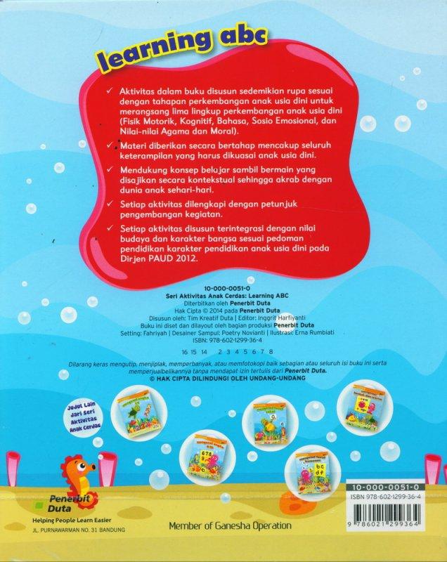 Cover Belakang Buku Seri Aktivitas Anak Cerdas: Learning ABC (2-4 tahun)
