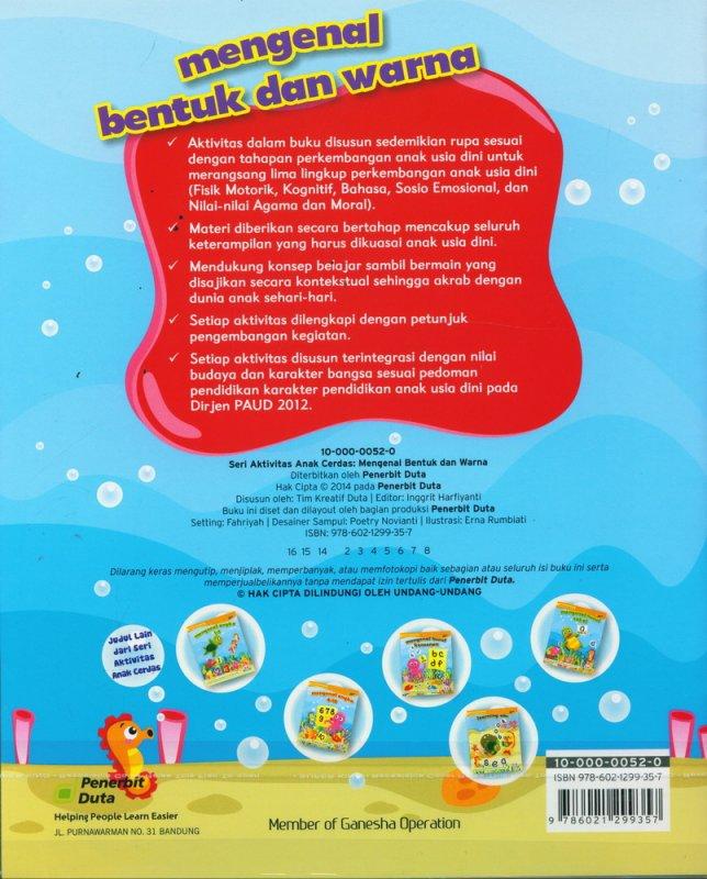 Cover Belakang Buku Seri Aktivitas Anak Cerdas: Mengenal Bentuk dan Warna (2-4 tahun)