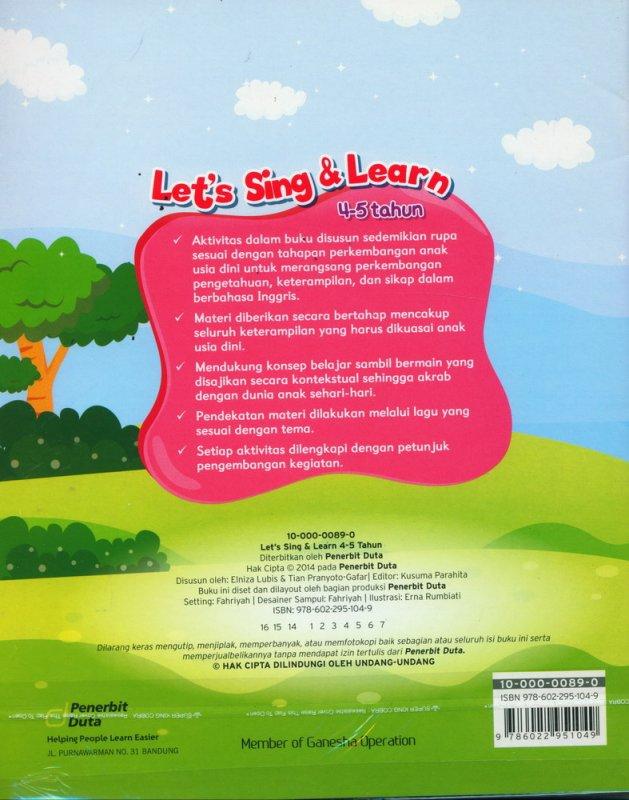 Cover Belakang Buku Lets Sing & Learn (4-5 tahun)