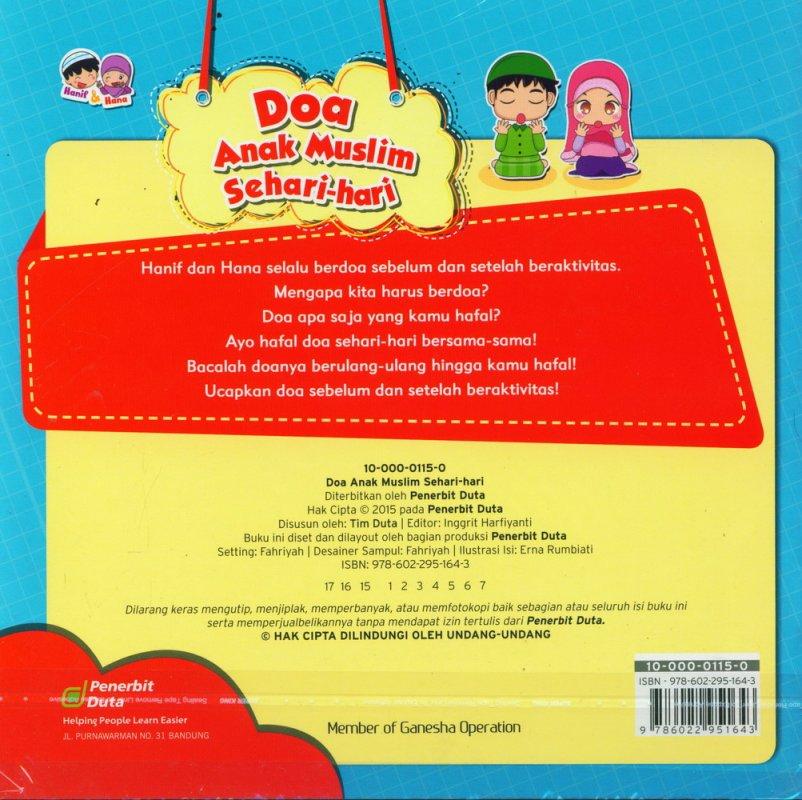 Cover Belakang Buku Seri Hanif & Hana: Doa Anak Muslim Sehari-hari