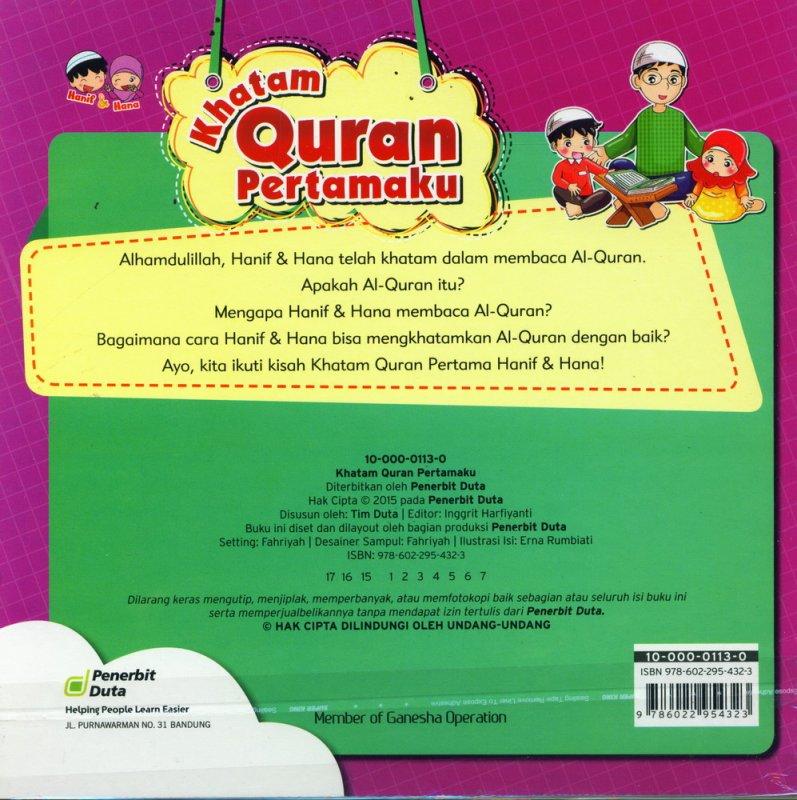 Cover Belakang Buku Seri Hanif & Hana: Khatam Quran Pertamaku