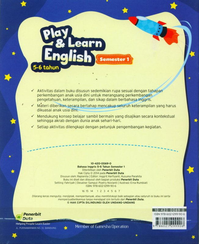 Cover Belakang Buku Play & Learn English 5-6 Tahun Semester 1