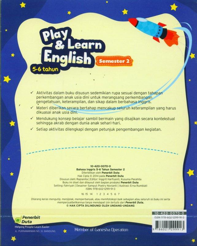 Cover Belakang Buku Play & Learn English 5-6 Tahun Semester 2
