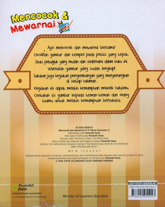 Cover Belakang Buku Mencocok & Mewarnai 4-5 Tahun Semester 2
