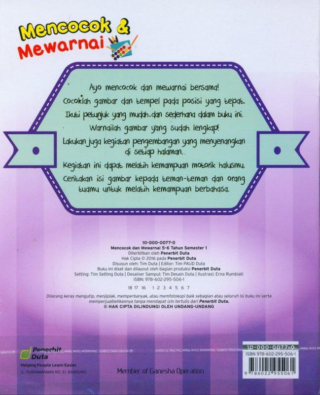 Cover Belakang Buku Mencocok & Mewarnai 5-6 Tahun Semester 1