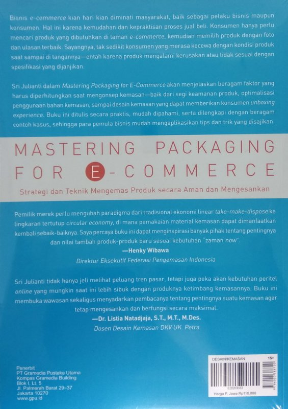 Cover Belakang Buku Mastering Packaging for E-Commerce