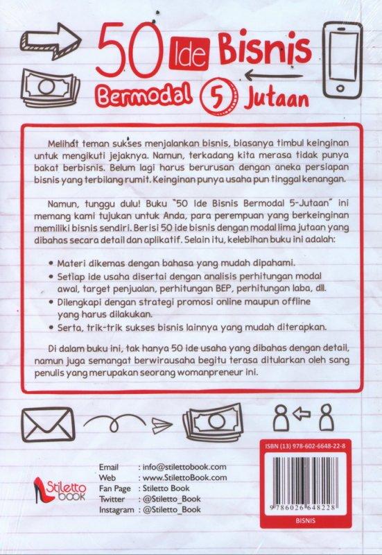 Cover Belakang Buku 50 Ide Bisnis Bermodal Rp. 5 Jutaan