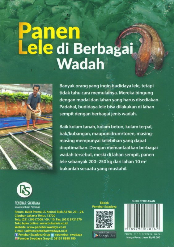 Cover Belakang Buku Panen Lele di Berbagai Wadah