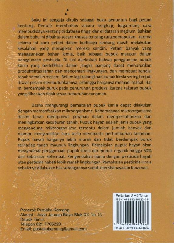 Cover Belakang Buku Sukses Budidaya KENTANG Di Dataran Tinggi dan Dataran Medium