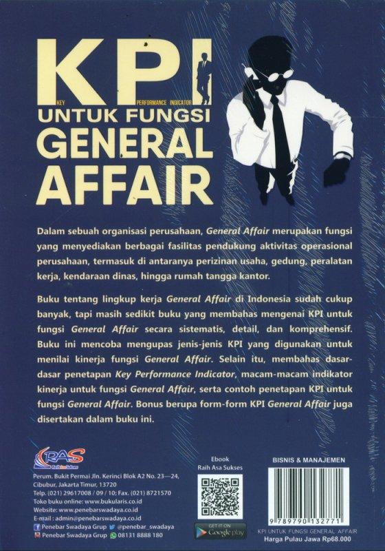 Cover Belakang Buku KPI Untuk Fungsi General Affair