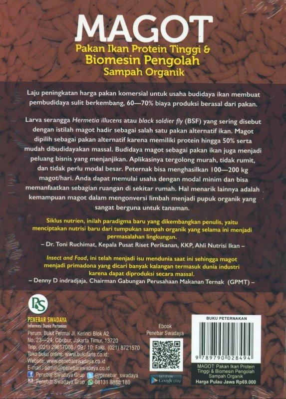 Cover Belakang Buku MAGOT: Pakan Ikan Protein Tinggi & Biomesin Pengolah Sampah Organik