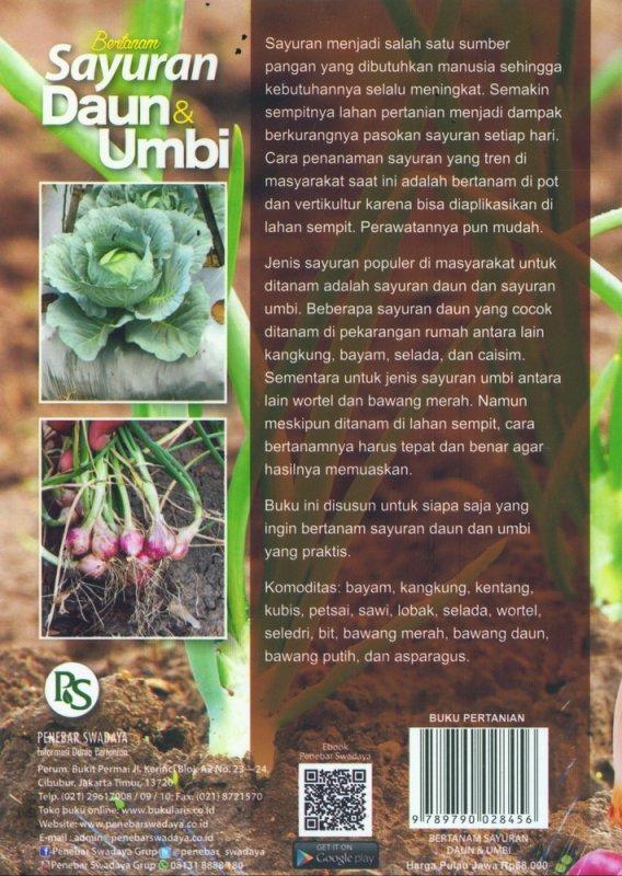 Cover Belakang Buku Bertanam Sayuran Daun & Umbi